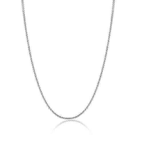 14 Karat 585 Gold Feine Diamantschliff Spiga Weizen Weißgold Kette (45)