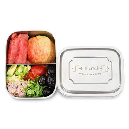 FitLunch Edelstahl Brot-Dose I Lunch-Box I PLASTIKFREI I BPA Frei I 1000ml I Spülmaschinen-Fest mit Zwei Fächern und Trennwand
