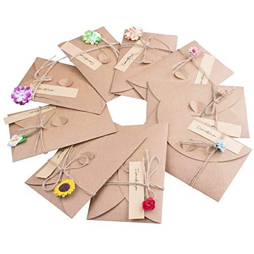 Grußkarten,9 Multipack Blanko Retro Grußkarte mit Umschläge Handgemachtes Kraftpapier Karte für Geburtstag Weihnachten Hochzeitstag Muttertag,Blumen+Jute Twine