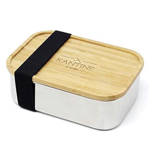 Kantine 51° Nord Lunchbox Woody | Brotdose aus Edelstahl | 100% plastikfrei, nachhaltig und gesund | Gut für Kinder, Erwachsene und die Umwelt | Perfekter Begleiter für Schule, Uni und Büro