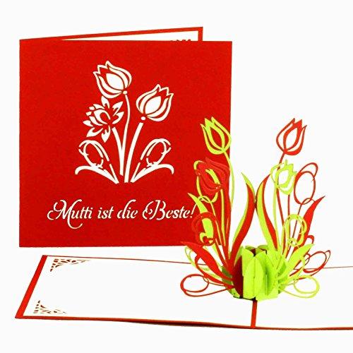 """Muttertagskarte""""Mutti ist die Beste"""" - 3D Pop-Up Karte - Muttertagskarten als kleines Geschenk & Geschenkgutschein - 3D Karte zum Muttertag"""