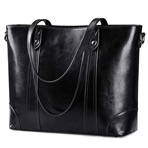 S-ZONE 15,6 Zoll Leder Laptop Tasche für Frauen Schultertasche Große Arbeitstasche mit gepolstertem Fach Schwarz schwarz Large