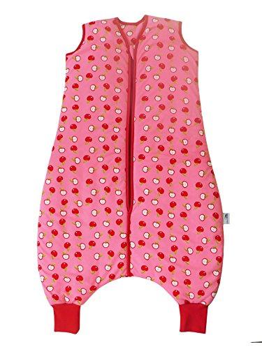 Schlummersack Daunenschlafsack Baby mit Füßen in rosa für Mädchen, ganzjährig in 2.5 Tog – Äpfel - 18-24 Monate/90 cm
