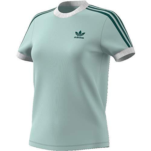 adidas Damen 3-Streifen Trainingsshirt, Vapour Green, 38