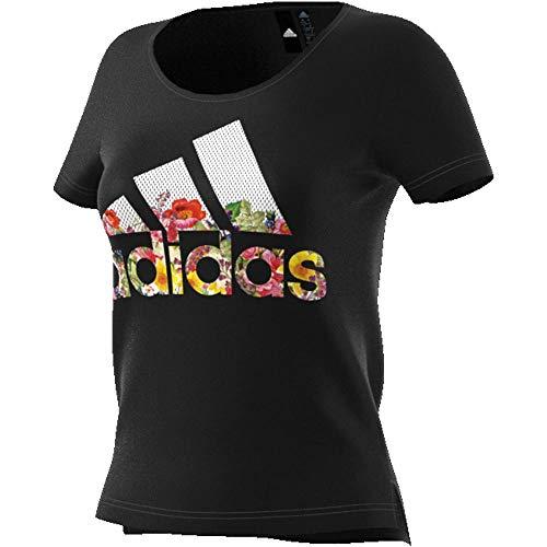 adidas Damen Badge of Sport Flower T-Shirt, Black, S