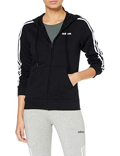 adidas Damen Essentials 3-Streifen Full-Zip Hoody, Black/White, S