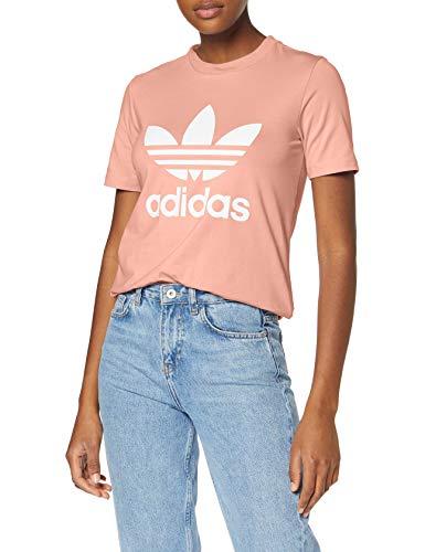adidas Damen Trefoil Tee T-Shirt, Rosa (Dust Pink), 34 (Herstellergröße: 40)