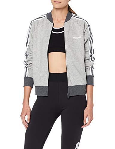 adidas Damen W E CB FZ Bomb Sweatshirt, medium Dark Grey Heather/White, L