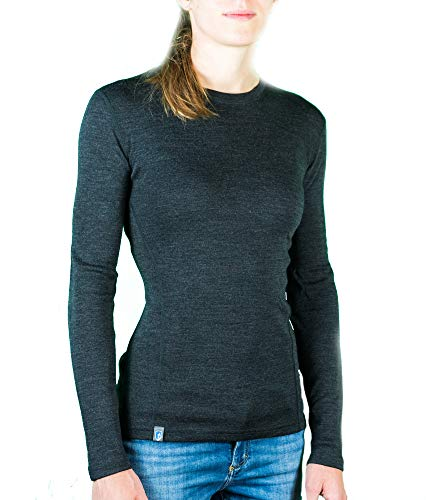 Alpin Loacker Merino Shirt Langarm 230g/m | 100% Merinowolle Sweatshirt Frauen | wärmeregulierendes Langarmshirt für Frauen Sport & Freizeit | Größenwahl (grau, m)