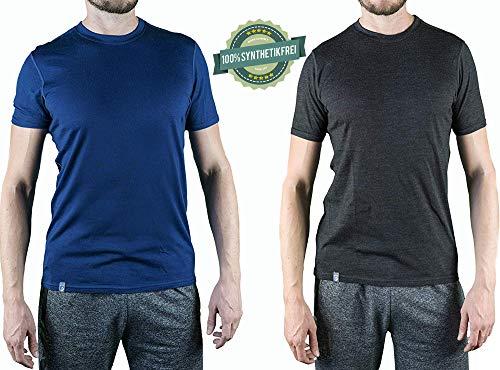 Alpin Loacker Merino T-Shirt Merino-Wolle Sportshirt Herren | wenig Schweiß + Lange trocken | Funktionsshirt Unterwäsche | m grau