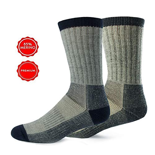 Alpin Loacker Wandersocken aus Merinowolle | Trekking Socken Damen und Herren | Keine Blasen + weniger Schweiß durch Merino | Medium 38-41 grau