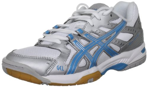 Asics Damen Gel Rocket W Gymnastikschuhe, Silver/Aqua Blue/White, 26 EU / 8.5 UK
