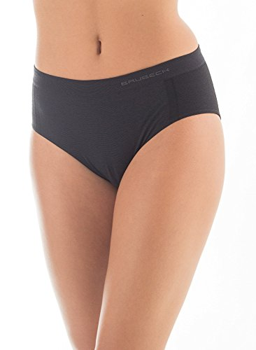 BRUBECK® 3x HI10080 ACTIVE WOOL Damen Hipster Slip | Merino Wollmix | Perfekte Passform | Atmungsaktiv | Antiallergisch, Größe:S;Farbe:Schwarz