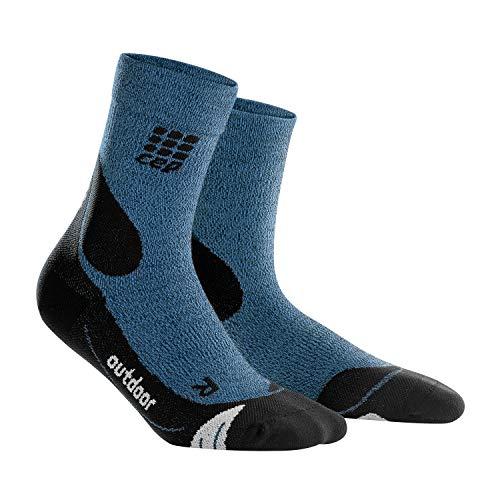 CEP - Outdoor Merino MID-Cut Socks für Damen | Warme Wandersocken knöchellang in blau/schwarz | Größe IV