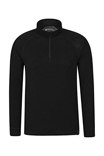 Mountain Warehouse Merino Langarm Baselayer-Thermotop für Herren - Atmungsaktives T-Shirt, Halbreißverschluss, bequemes T-Shirt - Ideal zum Campen Winter Baselayer Schwarz X-Large