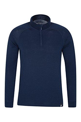 Mountain Warehouse Merino Langarm Baselayer-Thermotop für Herren - Atmungsaktives T-Shirt, Halbreißverschluss, bequemes T-Shirt - Ideal zum Campen Winter Baselayer Marineblau X-Large