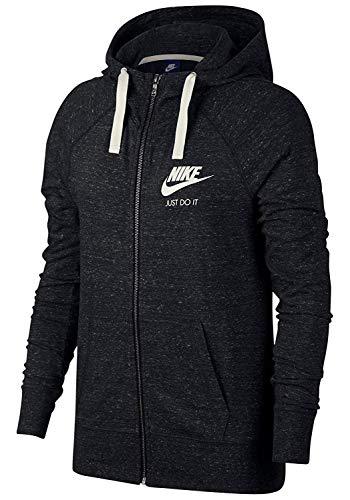 Nike Damen Vintage Kapuzen-Sweatshirt, schwarz (Black/Sail 010)), L