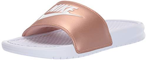Nike Damen WMNS Benassi JDI Dusch- & Badeschuhe, Mehrfarbig White/MTLC Red Bronze 000, 39 EU