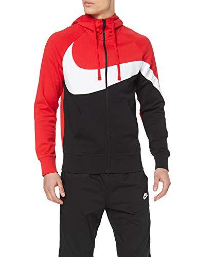 Nike Herren Sportswear Hoodie Full-Zip, University Red/White Black, L