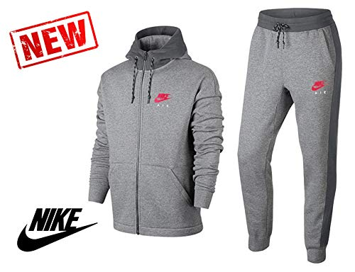 Nike - Nike Tuta Uomo Cotone Felpato Grigia - L, Grau