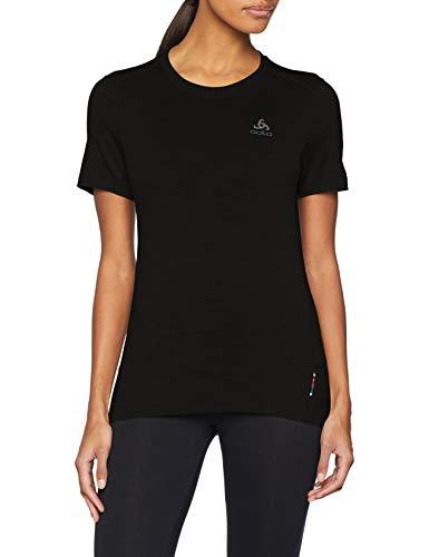 Odlo Damen SUW TOP Crew Neck s/s Natural 100% Merino Unterhemd, Black, M