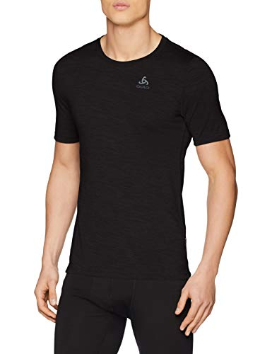 Odlo Herren BL TOP Crew Neck s/s Natural 100% Merino Shirt, Black, L