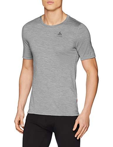 Odlo Herren SUW TOP Crew Neck s/s Natural 100% Merino Unterhemd, Grey Melange-Black, L