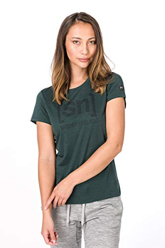 super.natural Bedrucktes Damen Kurzarm Shirt, Mit Merinowolle, W ESSENTIAL I.D TEE, Größe: M, Farbe: Dunkelgrün