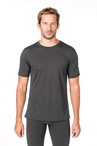 super.natural Dünnes Herren Kurzarm T-Shirt, Mit Merinowolle, M BASE TEE 140, Größe: M, Farbe: Dunkelgrau